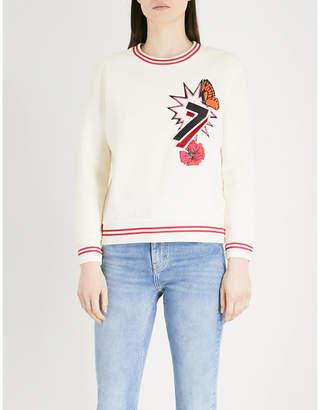 Maje Tea embroidered jersey sweatshirt
