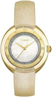 Timex Women's T2M594 Diamond Accented Cream Strap Stainless Steel Bracelet Watch
