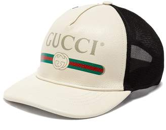 Gucci Vintage logo leather and mesh cap