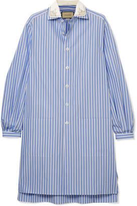 Gucci Oversized Striped Cotton Tunic - Blue