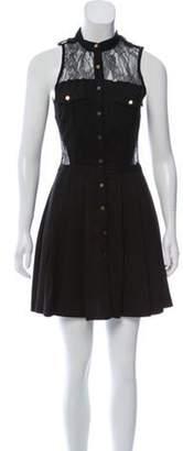 Three floor Lace-Accented Mini Dress Black Lace-Accented Mini Dress
