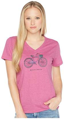 Life is Good Mobile Device Bike Cool Vee Tee Women's T Shirt