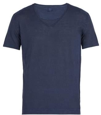 120% Lino V Neck Linen T Shirt - Mens - Dark Navy