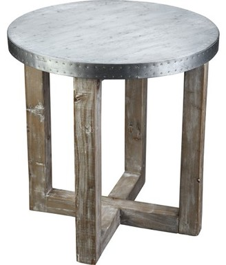 Burnham Home Designs Murray Side Table, Natural Finish with Zinc Top
