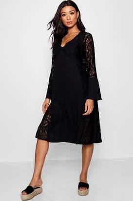 boohoo Lace Panel Bohemian Midi Dress