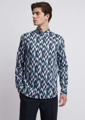 Emporio Armani Printed Cotton Satin Shirt With Zipper