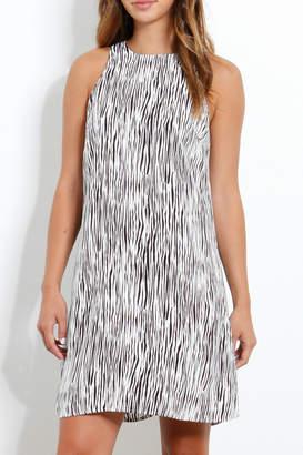 Three Dots Mini Zebra Print Crepe Trapeze Dress