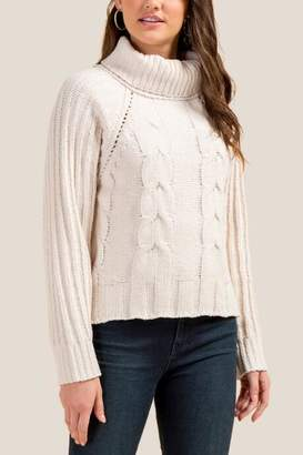 francesca's Hayden Cowl Neck Chenille Sweater - Ivory