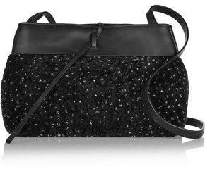 Kara Tie Leather-Paneled Marled Shearling Shoulder Bag