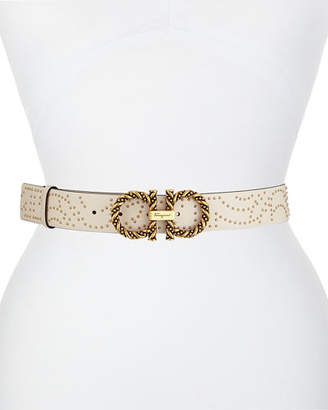 Salvatore Ferragamo Twisted & Studded Gancini-Buckle Leather Belt
