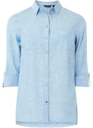 Dorothy Perkins Womens Chambray Silver Button Shirt