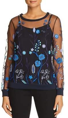 Elie Tahari Val Floral Embroidered Mesh Top