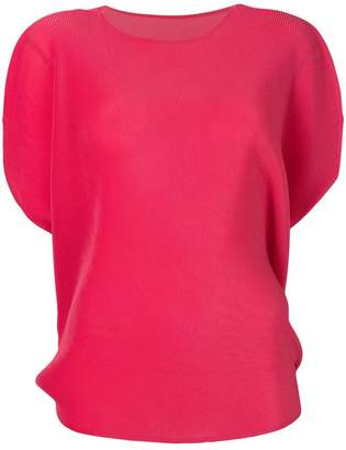 Pleats Please Issey Miyake pleated boat neck blouse