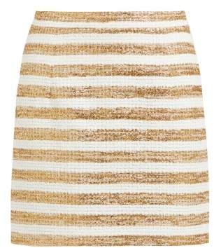Alessandra Rich - High Rise Striped Tweed Mini Skirt - Womens - White Gold