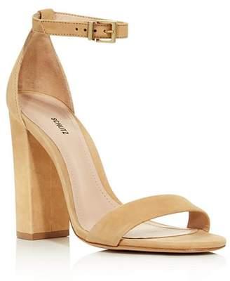 Schutz Women's Enida Nubuck Leather High Block Heel Sandals