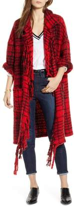 Treasure & Bond Plaid Fringe Cardigan