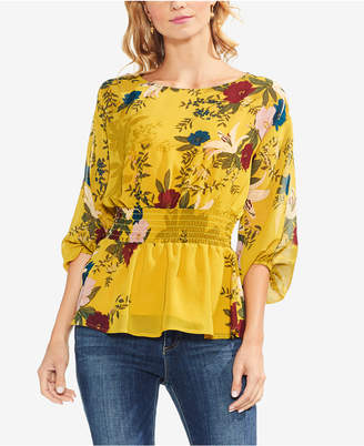 Vince Camuto Printed Bubble-Sleeve Top