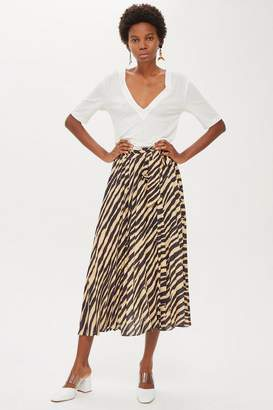Topshop Zebra Print Pleat Midi Skirt