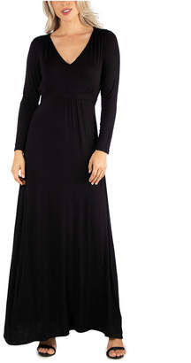 24seven Comfort Apparel Women Semi Formal Long Sleeve Maxi Dress