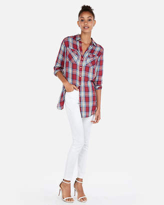 Express Plaid Oversized Two Pocket Tunic