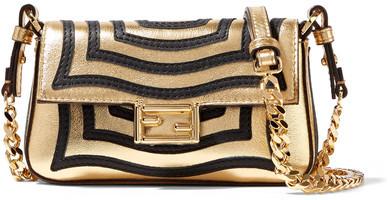 Fendi - Baguette Micro Appliquéd Metallic Textured-leather Shoulder Bag - Gold