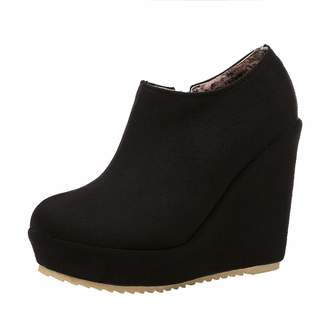 Vitalo Womens Wedge Heel Ankle Boots Ladies Platform Zip Up Party Shoes Size