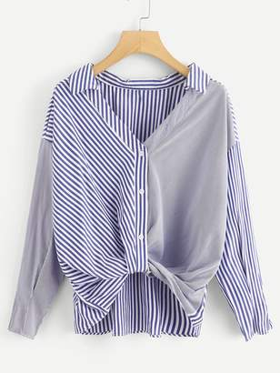 Shein Striped Spliced Dip Hem Shirt