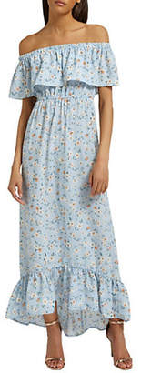 Missguided Bardot Ditsy Floral Maxi Dress