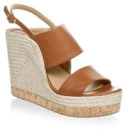 Salvatore Ferragamo Leather Slingback Wedge Platform Sandals