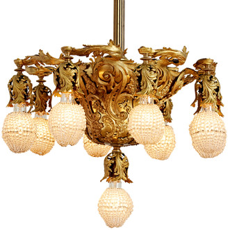 Rejuvenation Gilt Rococo 9-Light Chandelier w/ Original Crystal Bulb Covers