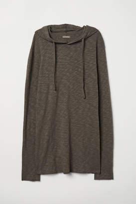 H&M Slub Jersey Hooded Shirt - Gray