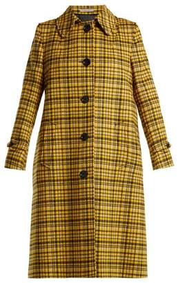 Bottega Veneta Plaid A Line Wool Coat - Womens - Yellow