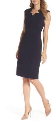 Tahari Star Neckline Crepe Sheath Dress