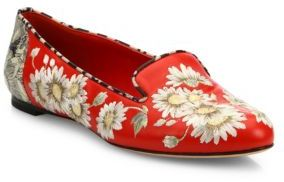 Alexander McQueenAlexander McQueen Floral-Embroidered Leather Loafers