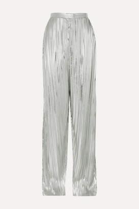 Rodarte Pleated Lamé Wide-leg Pants - Silver