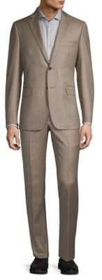 Two-Piece Solid Sharkskin Wool Suit
