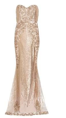 Quiz Gold Sequin Embellished Maxi Dress