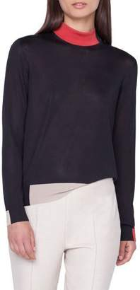 Akris Silk Crepe Lines Intarsia Mock-Neck Pullover Sweater