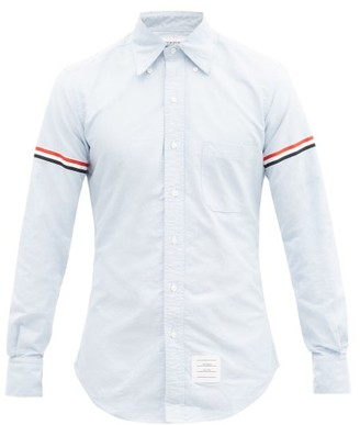 Thom Browne Button Down Collar Cotton Shirt - Mens - Light Blue