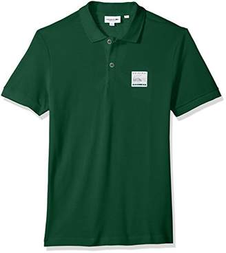 Lacoste Men's Short Sleeve Cotton Pique with Patch Graphic Reg Fit Polo