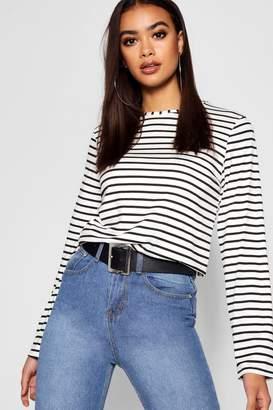 boohoo Stripe Long Sleeve T-Shirt