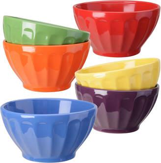 Signature Housewares Set Of Six Assorted 20Oz Color Fluted Bowls