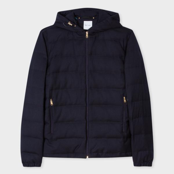 Paul SmithMen's Navy Wool-Twill Zip-Front Hooded Travel Jacket