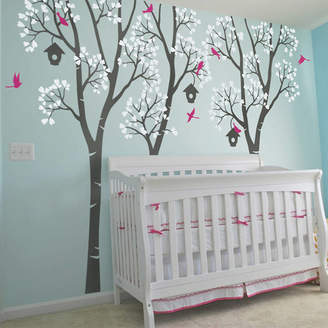 Wall Art Three Trees With Birds And Birdhouses Decal