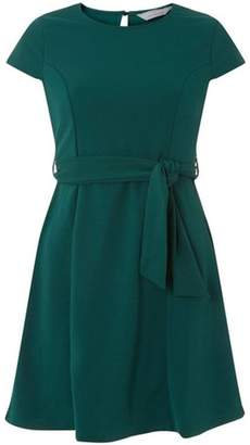 Dorothy Perkins Womens Petite Tie Waist Fit and Flare Dress