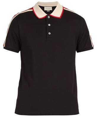 Gucci Ribbon Logo Polo Shirt - Mens - Black