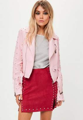 Missguided Pink Studded Sleeve Faux Leather Jacket