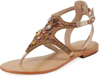 Andre Assous Kamora Flat Embellished Metallic Leather Sandal
