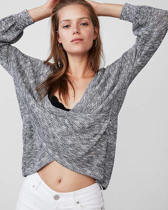 Express Wrap Front Balloon Sleeve Pullover