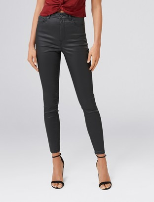Forever New Cleo High-Rise Ankle Grazer Jeans - Coated Black - 4